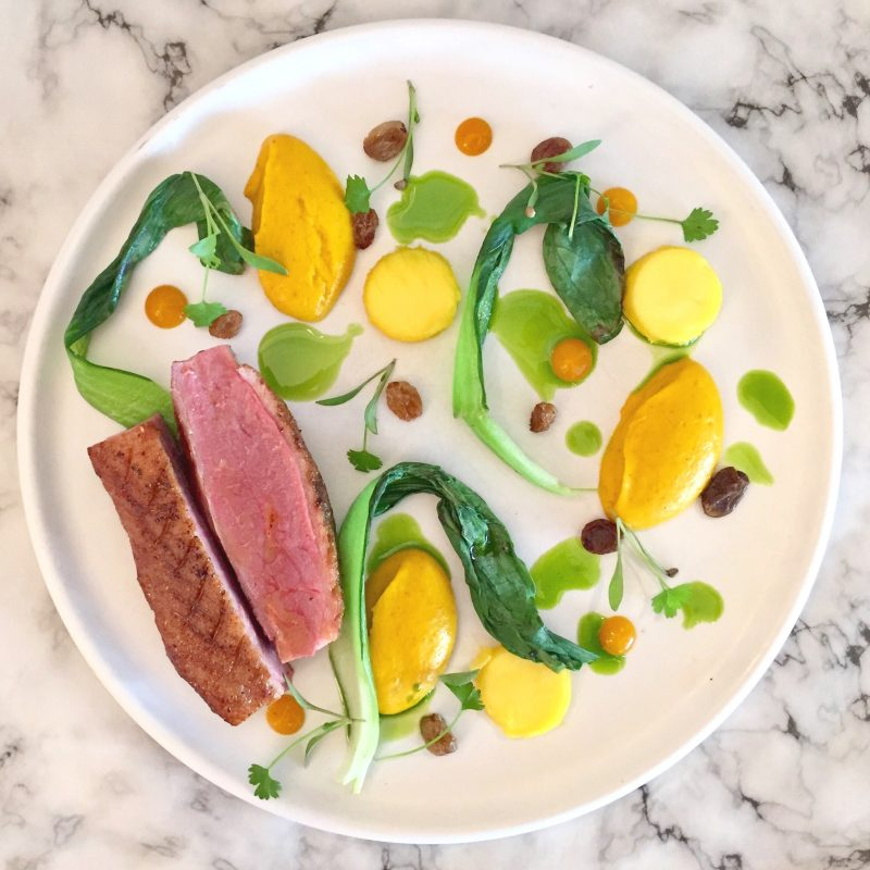 Duck with Carrot Puree, Coriander and Mango recipe