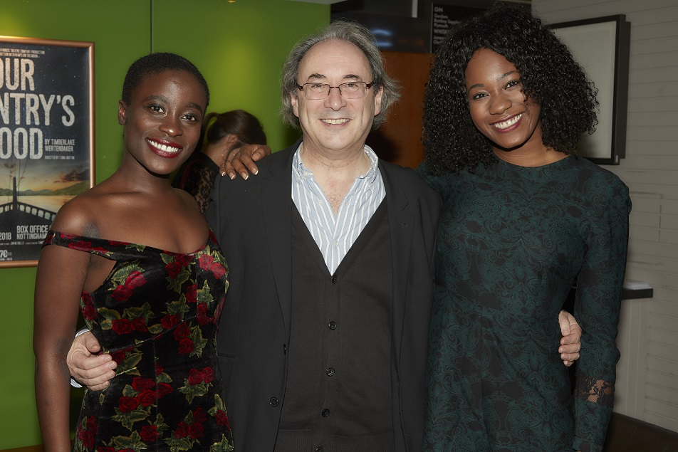 (L-R) Babirye Bukilwa (Varya), Giles Croft (Director) and Evlyne Oyedokun (Anya) from The Cherry Orchard company