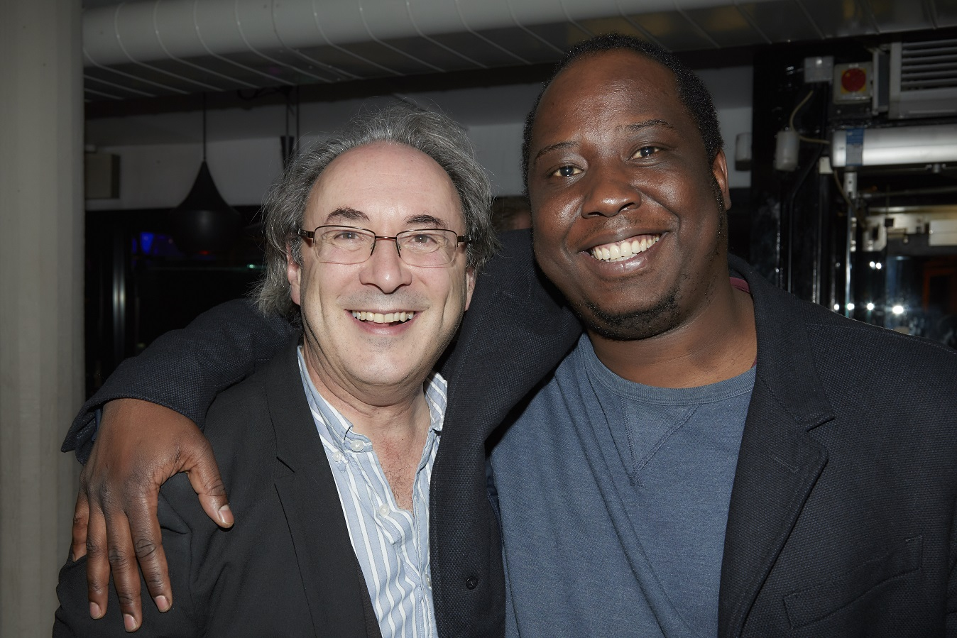 (L-R) Outgoing Nottingham Playhouse Artistic Director Giles Croft and playwright Mufaro Makubikia
