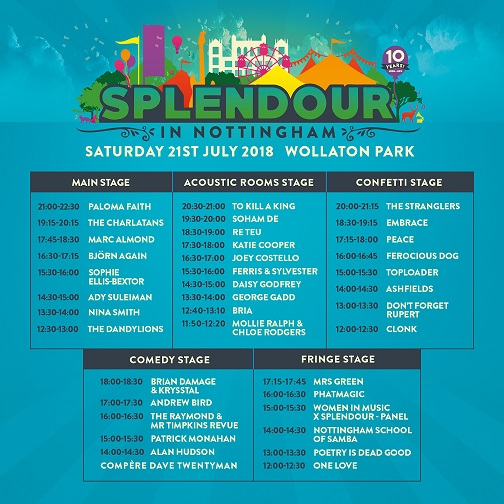 Stage Times Revealed for 10th Birthday Bash of Splendour