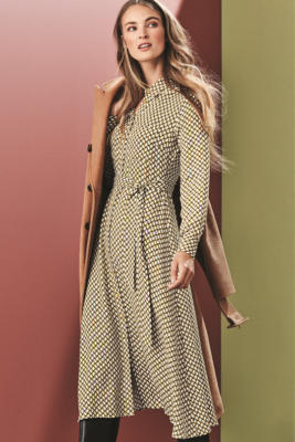 M&S Collection Geometric Midi Dress £39.50, Belted Coat £99.00, Boots £49.50. Image Marks & Spencer